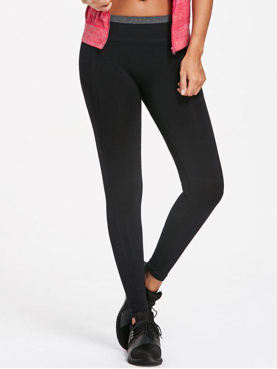 fashion Contrast Trim Running Leggings - GRAY M