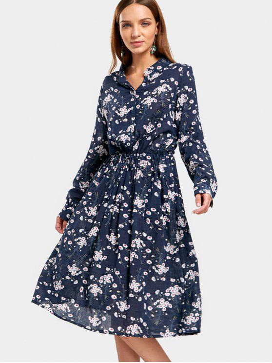 ladies Drawstring Waist Tiny Floral Dress - FLORAL L