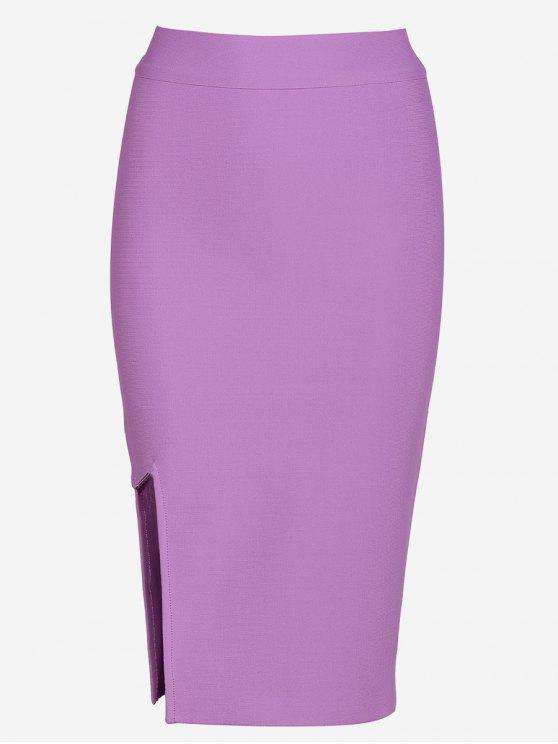 High Waist Slit Bodycon Skirt LIGHT PURPLE: Skirts M | ZAFUL