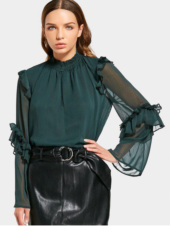 womens See Thru Ruffles Chiffon Blouse - BLACKISH GREEN S