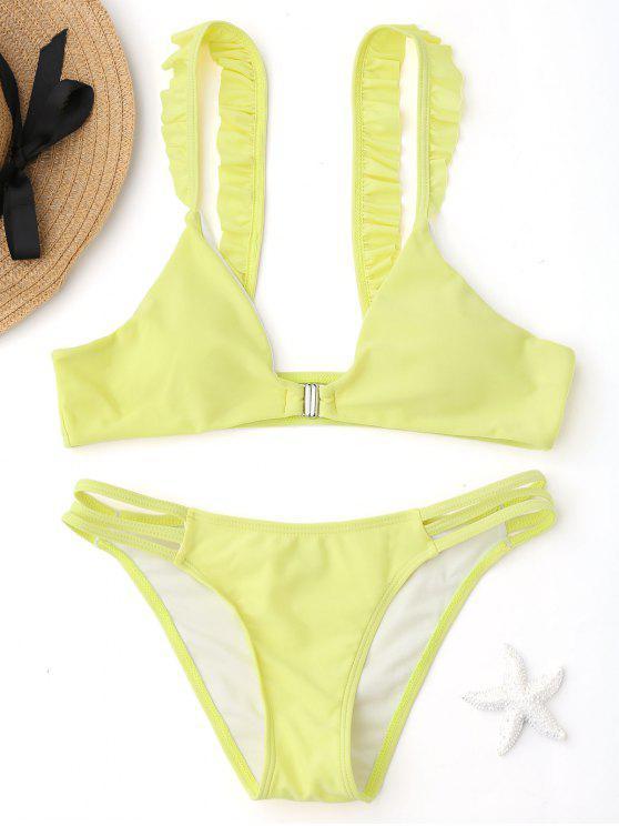 Bikini Tagliato Trapezoidale Con Volant E Chiusura Anteriore - Giallo M