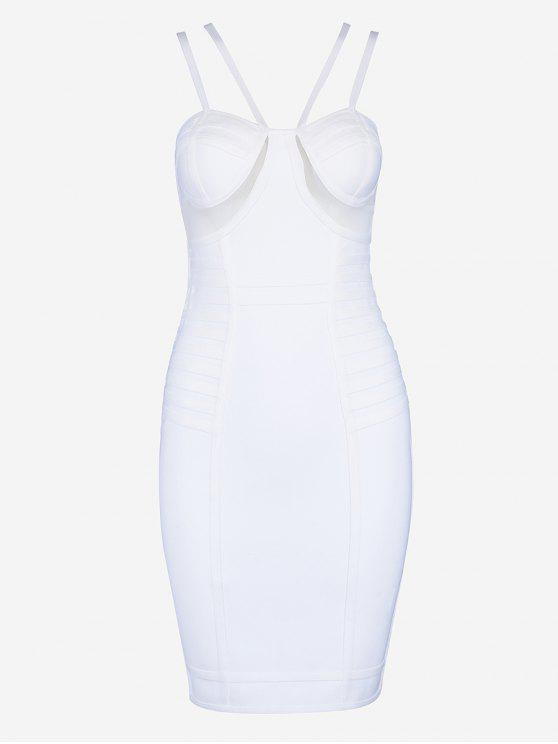 Vestido de vinheta Cami de malha - Branco S