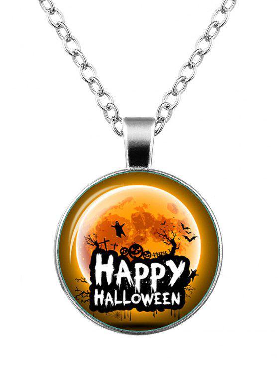 Halloween Happy Pumpkin Bat Ghost Necklace - Argent