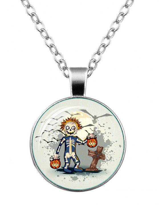 outfit Halloween Funny Skeleton Pumpkin Bat Necklace - SILVER