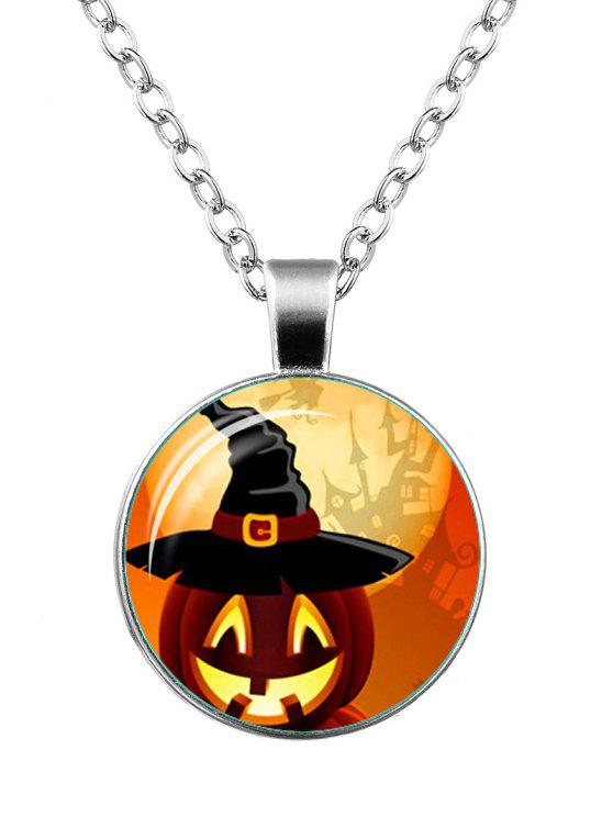 O Dia das Bruxas Pumpkin Castle Wizard Hat Necklace - Prata