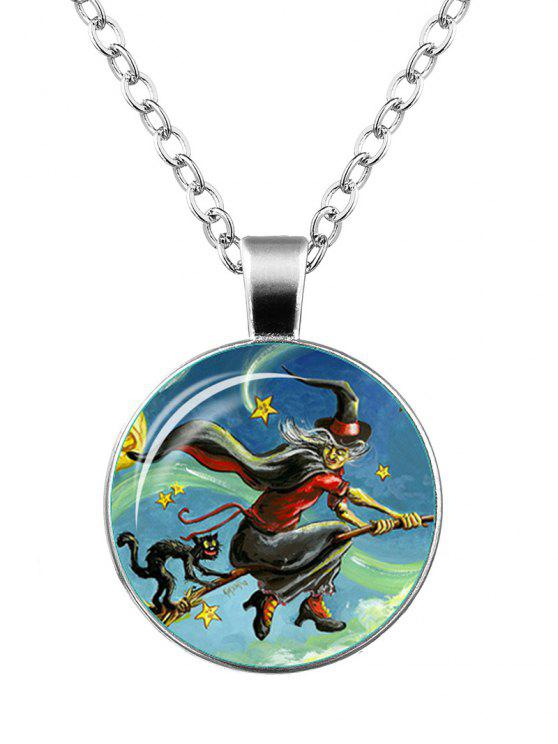 trendy Halloween Witch Devil Cat Star Necklace - SILVER
