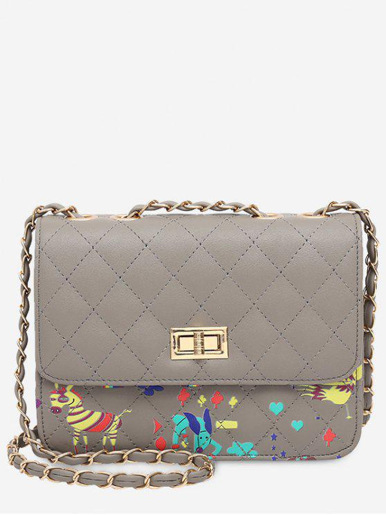 fancy Animal Print Quilted Crossbody Bag - GRAY
