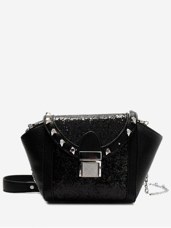 womens Rivet Sequin Metal Crossbody Bag - BLACK