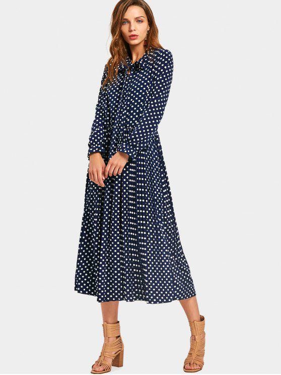 Bow Tie Collar Polka Dot Dress - Dot Pattern S
