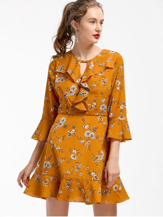 48e54de1b203 2019 Floral Ruffles Fit And Flare Dress In EARTHY M