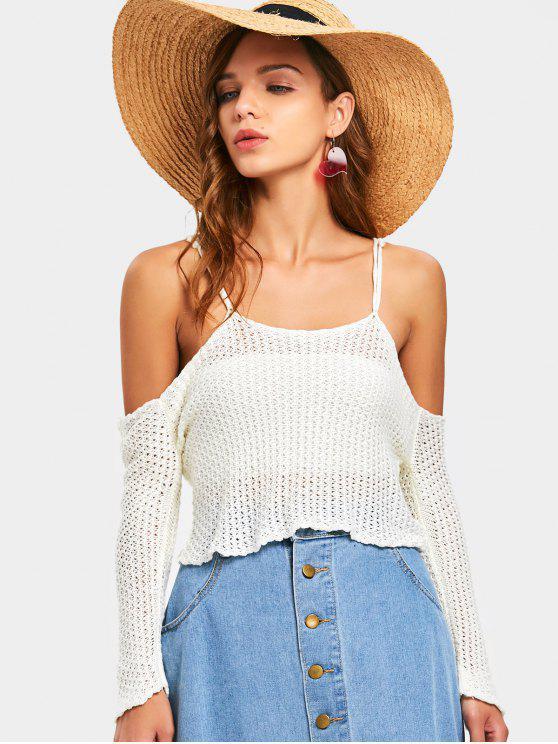 8c12e6c2771af7 20% OFF  2019 Crochet Cold Shoulder Top In OFF-WHITE