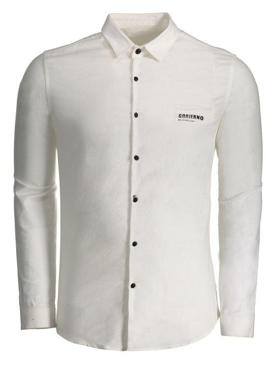 affordable Gobierno Graphic Button Up Shirt - WHITE 3XL