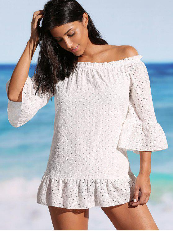 lady Ruffle Off The Shoulder Cover-up Dress - WHITE L