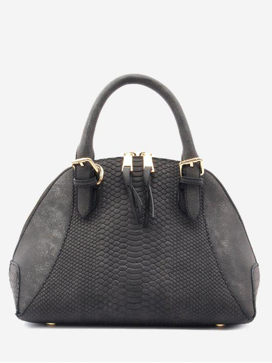 Shell Shape Crocodile Pattern Buckle Strap Totes - Preto