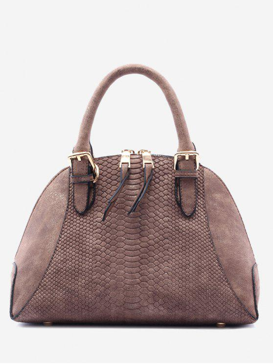 buy Shell Shape Crocodile Pattern Buckle Strap Totes - DUN