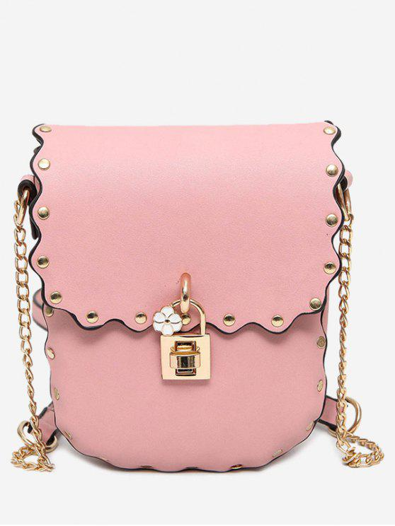 women Chain Scallop Rivet Crossbody Bag - PINK