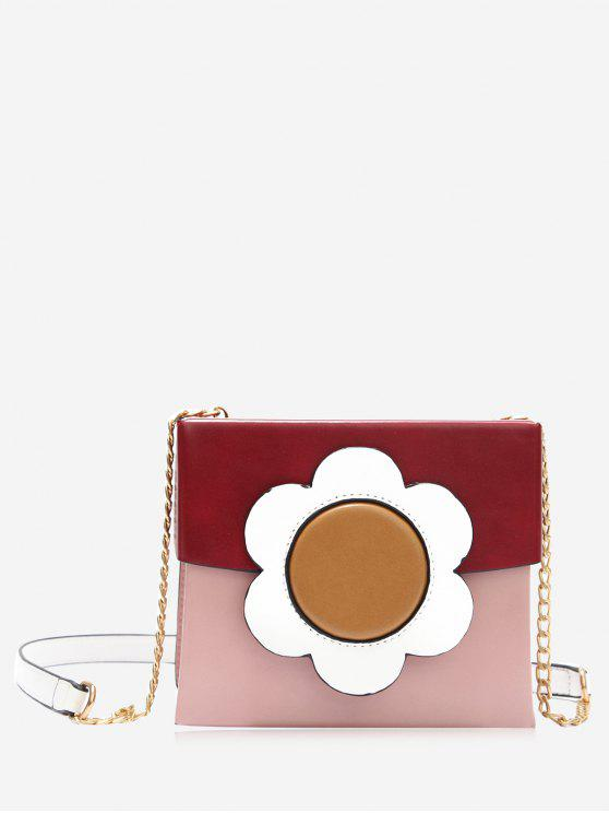 ladies Chain Floral Color Block Crossbody Bag - RED