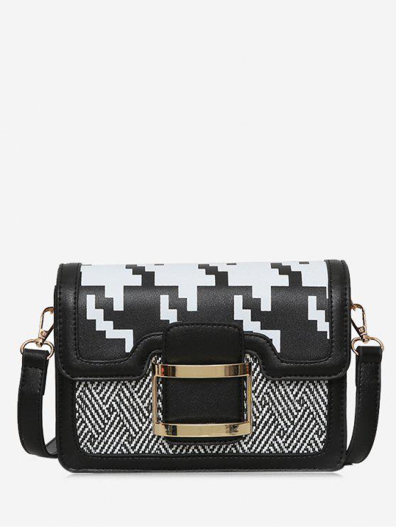 مشبك حزام هندسي معدن حقيبة كروسبودي - أسود