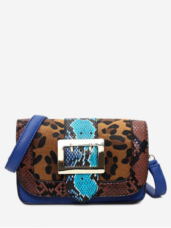 Snakes Leopard Print Buckle Strap Crossbody Bag - Marrom