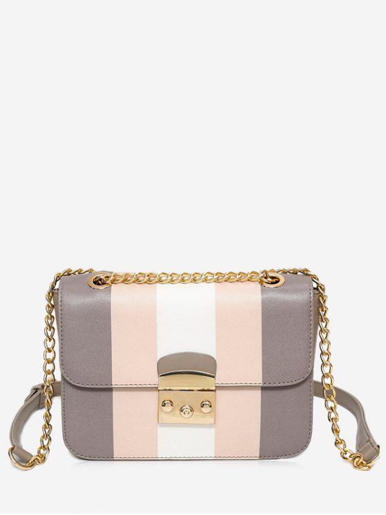 Chain Color Block Faux Leather Crossbody Bag - Cinza