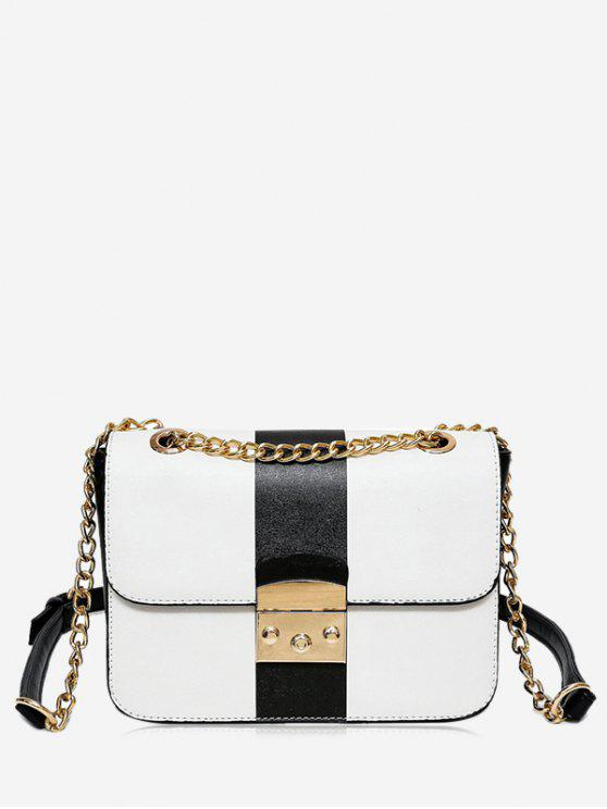 Chain Color Block Faux Leather Crossbody Bag - Preto Branco
