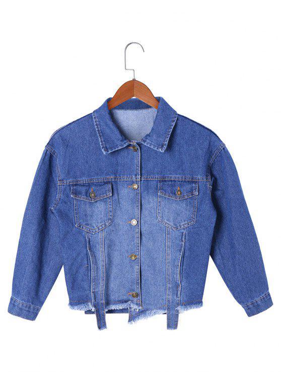 Veste courte en denim à manches courtes - Bleu Toile de Jean 2XL