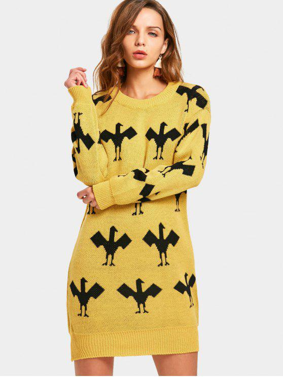 lady Drop Shoulder Graphic Mini Sweater Dress - YELLOW ONE SIZE