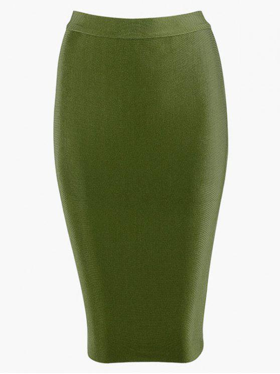 shop High Waist Plain Bodycon Skirt - ARMY GREEN L