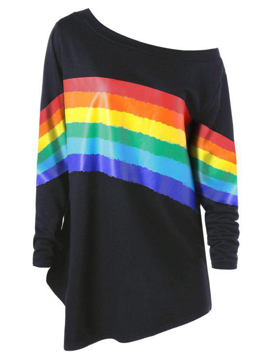 shop Plus Size Colorful Stripes Skew Neck Pullover Sweatshirt - BLACK 2XL