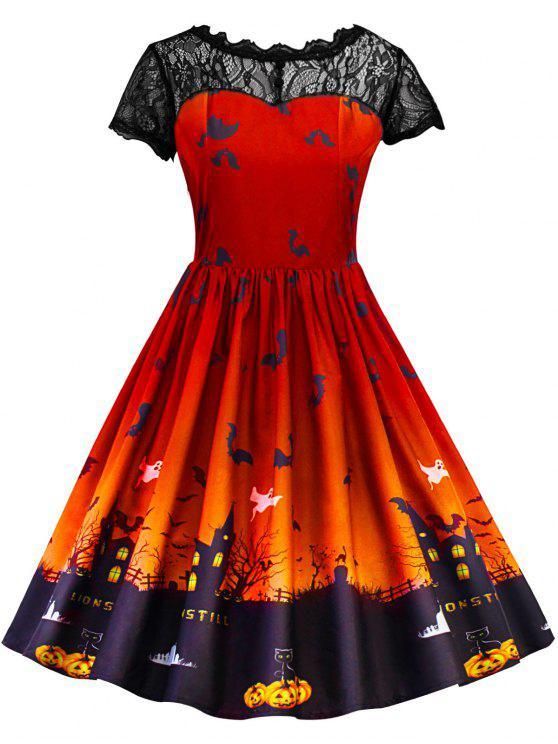 فستان كلاسيكي دانتيل هالوين - ياقوتة S