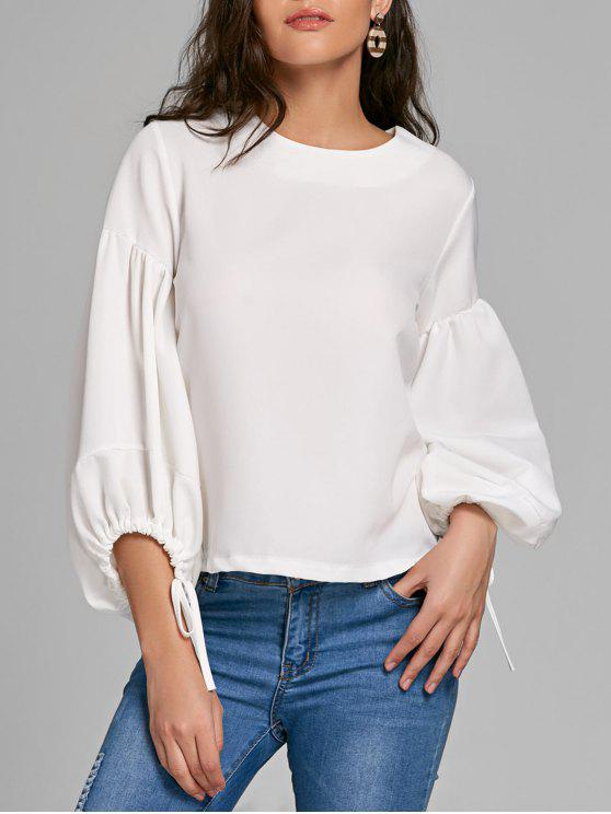 fashion Puff Sleeve Lacing Cuffs Blouse - WHITE L