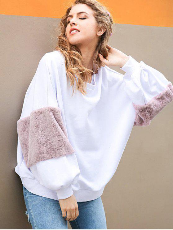 Sweat-shirt Oversize Manches Bouffantes en Fausse Fourrure Décoratives - Blanc S