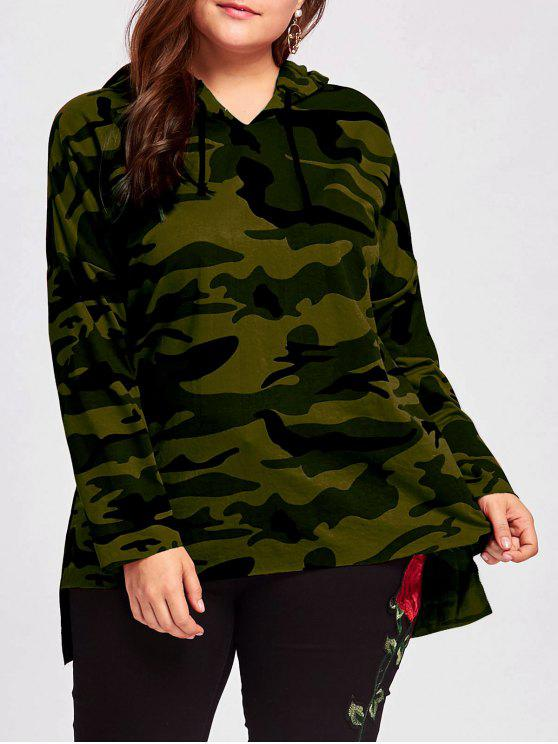 sale Plus Size Long High Low Camo Hoodie - ARMY GREEN XL