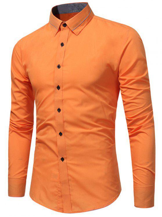 Turndown Kragen Schwalbe Gird Edging Shirt - orange  L
