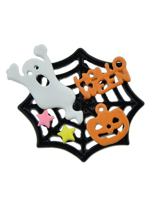 Halloween Devil Pumpkin Ghost Cobweb Brooch - Multicolore