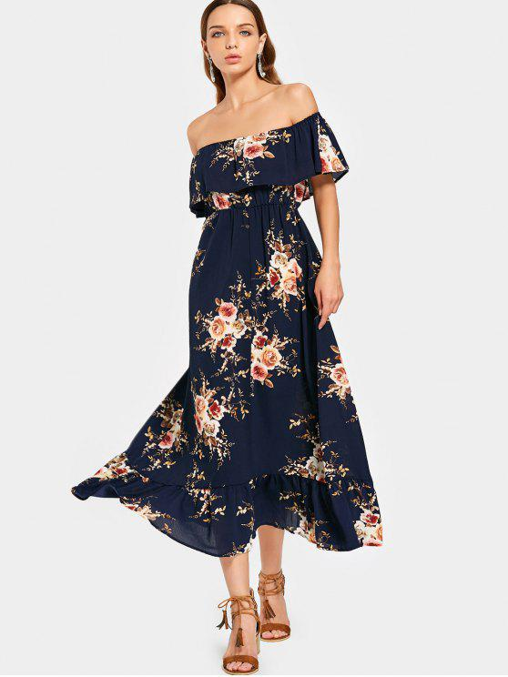 263fc1f920262 Overlap Floral Off Shoulder Midi Dress - Floral M