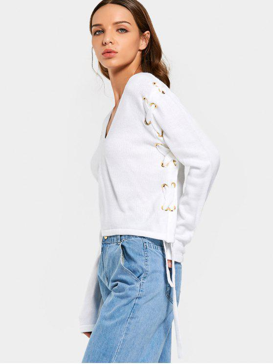 outfit Cropped V Neck Lace Up Sweater - WHITE S