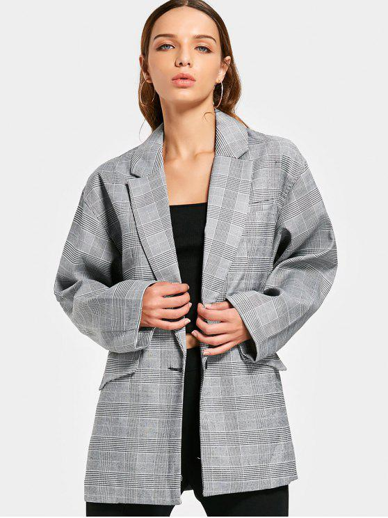outfit Long Sleeve Buttoned Checked Blazer - CHECKED S