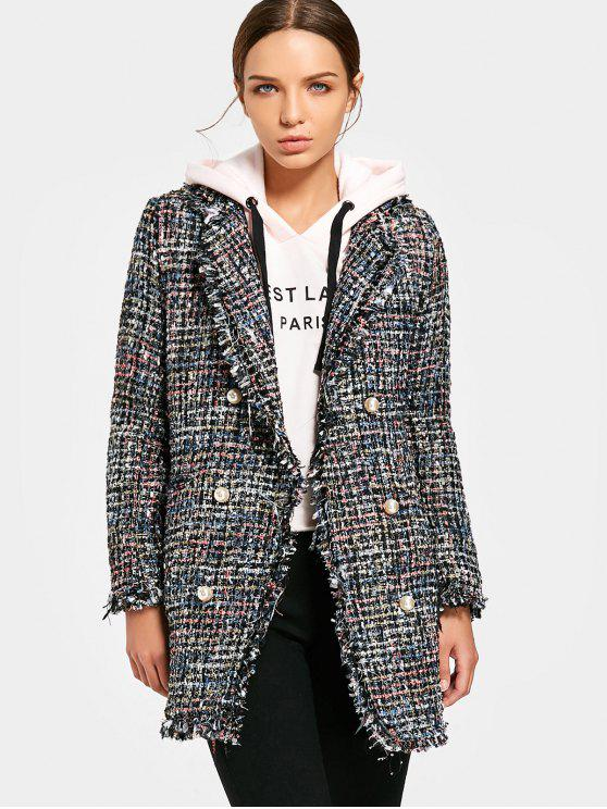 women Heathered Double-breasted Tweed Coat - BLACK M