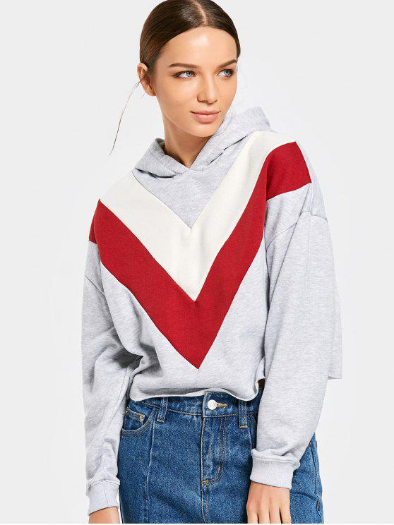 unique Drop Shoulder Color Block Cropped Hoodie - GRAY L