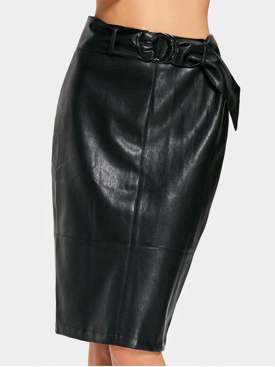 58769c59488 26% OFF  2019 Belted Slit Faux Leather Pencil Skirt In BLACK