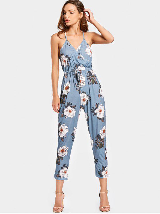 affordable Empire Waist Criss Cross Floral Jumpsuit - FLORAL M