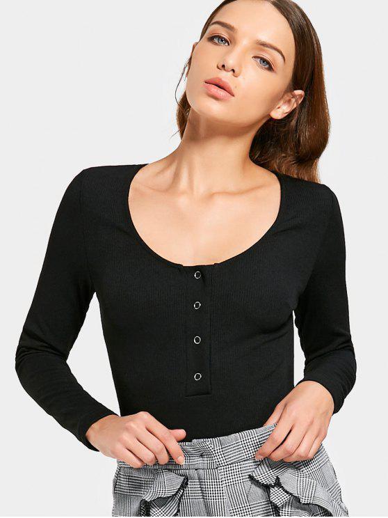 طويلة الأكمام نصف زرها ارتداءها - أسود M