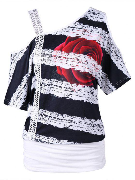تيه منحرف الرقبة طباعة الأزهار - أبيض 2XL