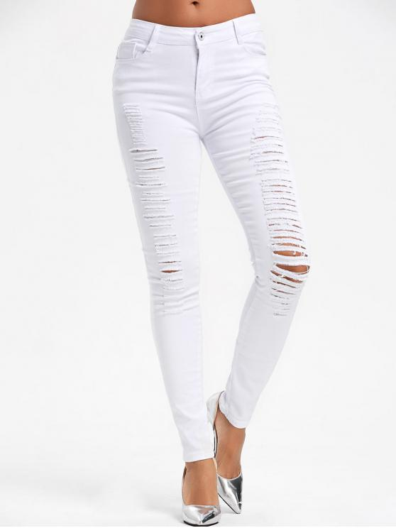 affordable High Waist Ripped Skinny Pants - WHITE S