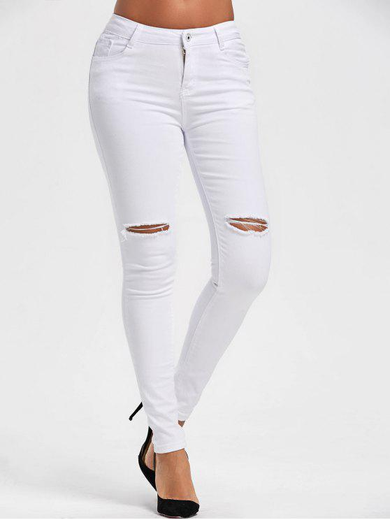 trendy Ripped High Waist Skinny Pants - WHITE L