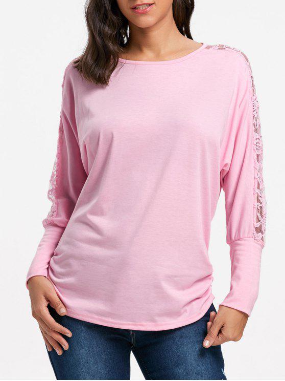 Lace Insert Batwing Ärmel Top - Pink 2XL