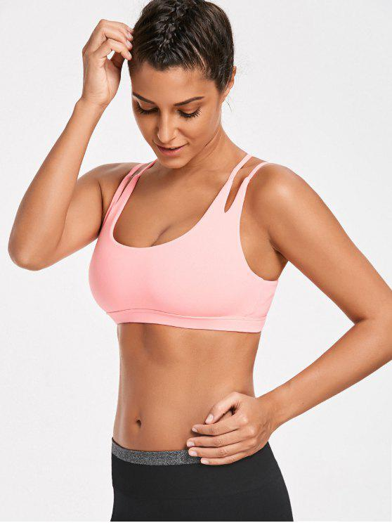 High Impact Strappy Back Sporty Bra - Rosa Fluorescente XL
