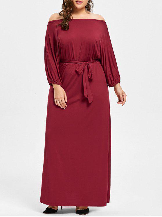 10665f6739e Vestido de talla grande en el hombro cinturón maxi vestido - Vino Rojo 4XL