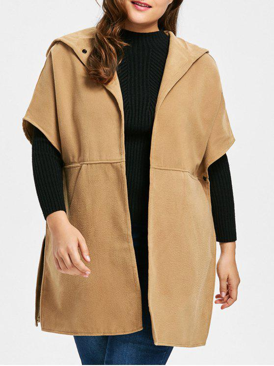 new Plus Size Faux Suede Hooded Poncho Coat - CAMEL 3XL